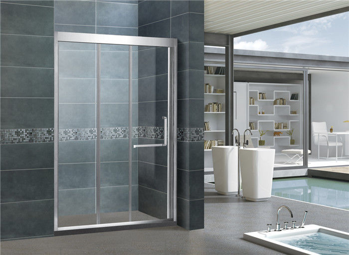 Stainless Steel Double Sliding Glass Shower Doors L Shape Handle For Hotel