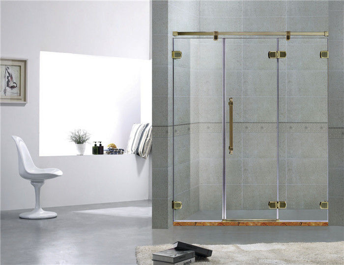 Green Bronze Inline Frameless Glass Shower Doors 8MM Tempered Glass For Home
