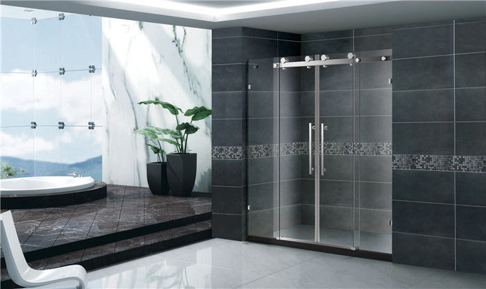 Economic Double Sliding Glass Shower Doors With Stainless Steel Accessories
