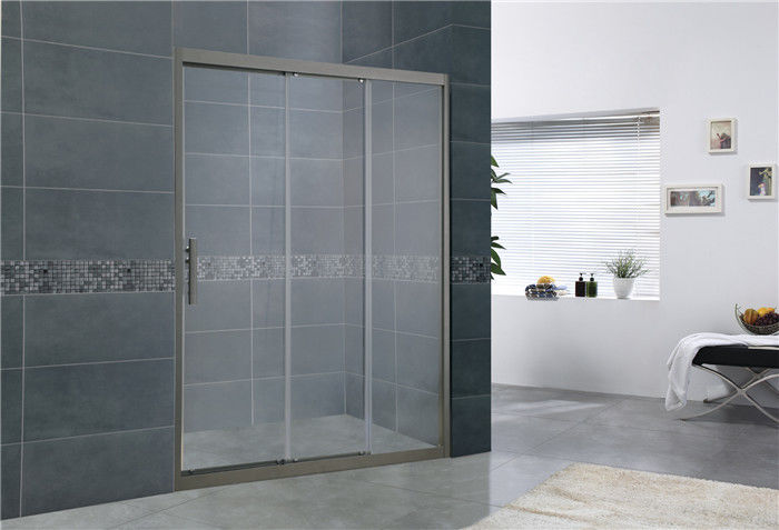 Gray  Double Sliding Glass Shower Doors With Aluminum Alloy and Gray Handle for Home