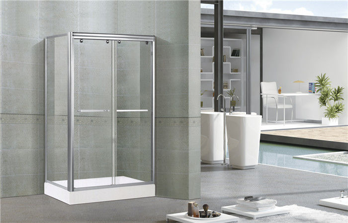 Bright Silver Aluminum Alloy Shower Stall Enclosures One Fixed Panel For Apartment / Hotel