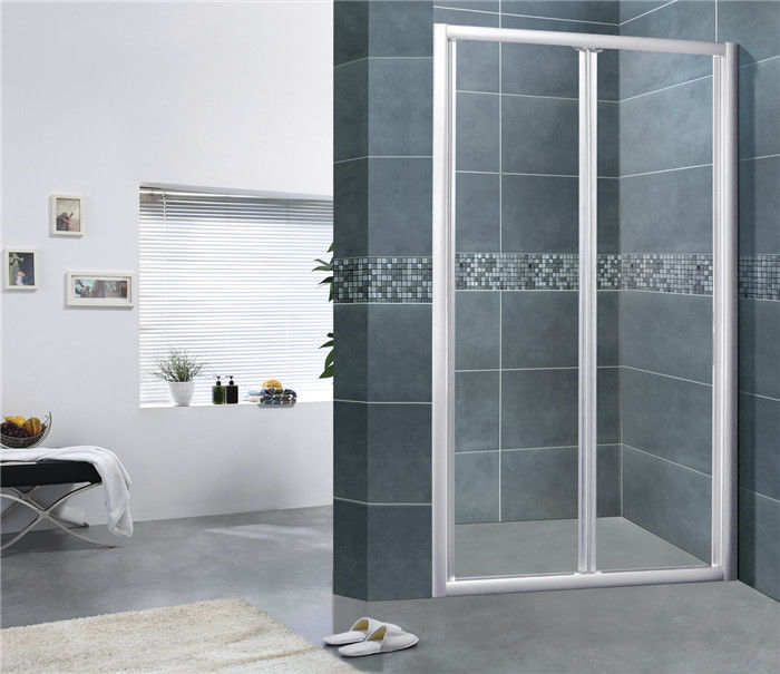 Sand Silver Folding Shower Doors Full Aluminum Alloy Bathroom Shower Enclosures