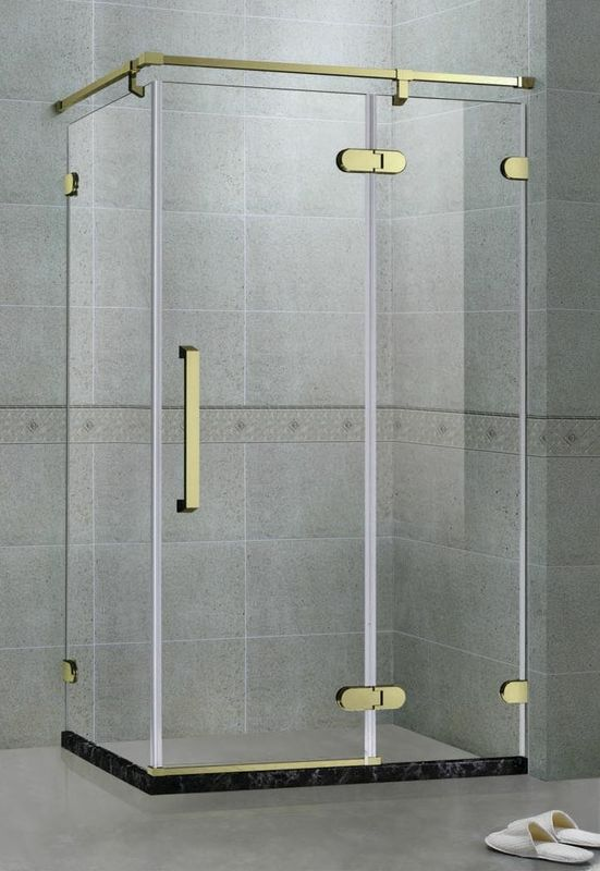 Rectangle Frameless Hinge Shower Screens With Golden Stainless Steel Support Bar 8 MM
