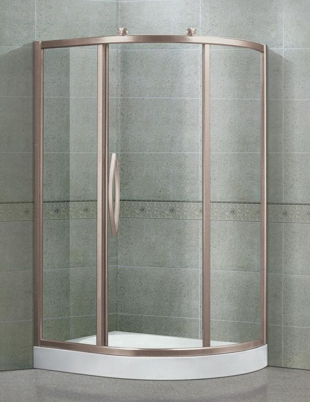 Clear / Printed Tempered Glass  Shower Cubicles Offset Quadrant Sliding With Outside Rollers