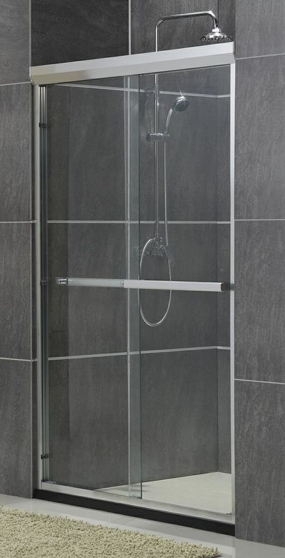 Sand Silver Two Sliding Glass Shower Doors Without Magnetic Seals Aluminum Ally Wheels