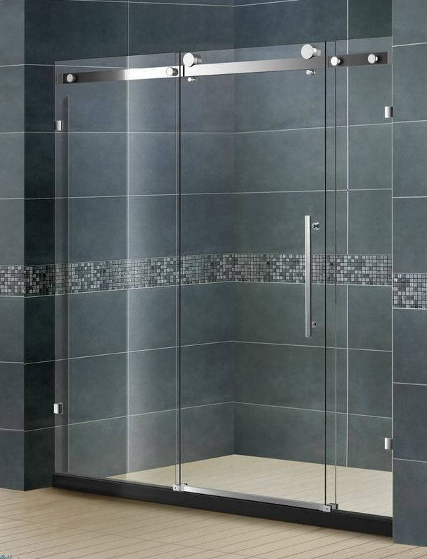 Frameless Inline Bathroom Shower Enclosures Sliding Door With Big Hanging Wheels 8 MM