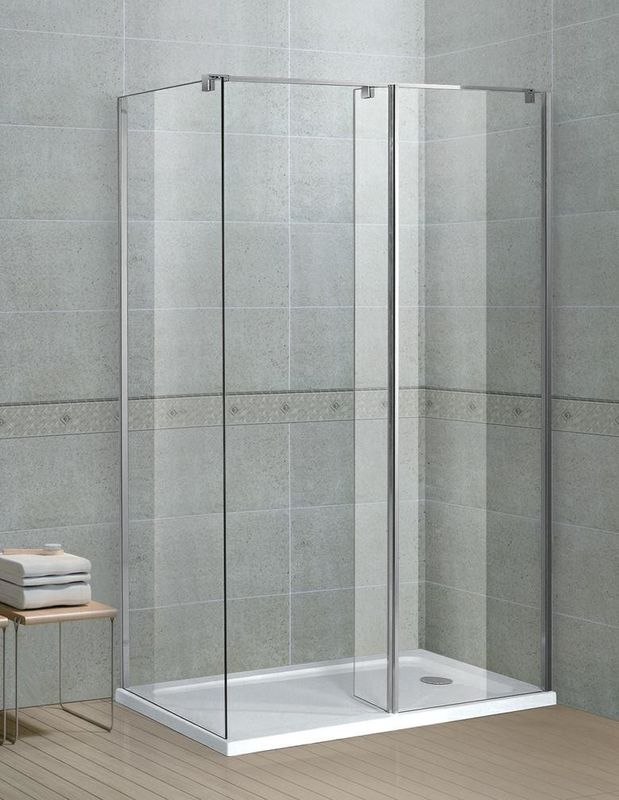 Square Chromed Walk In Shower Enclosures Stainless Steel Support Bar and Aluminum Profiles